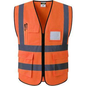 Color : Orange, Taille : L 2XL v/élo Gilets de Haute visibilit/é Gilet de s/écurit/é r/éfl/échissant Veste de Conduite de Nuit Gilet de s/écurit/é avec Poches HTGW L//XL
