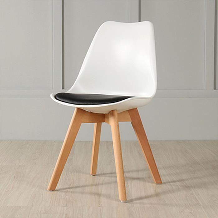 BUL Haut e Qualité Blanc chaise Scandinave avec coussin Noir - Lot de 8 - L 48 x P 46 x H 82 cm