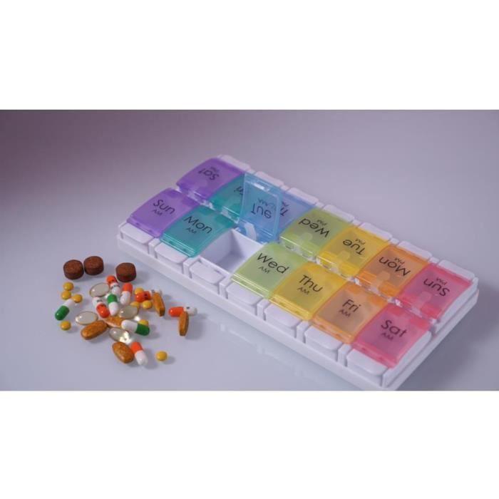 Pilulier Semainier Matin et Soir,Pilulier 7 Jours 14 Compartiments - Deux Fois Par Jour Medication Dispenser - Anglaise