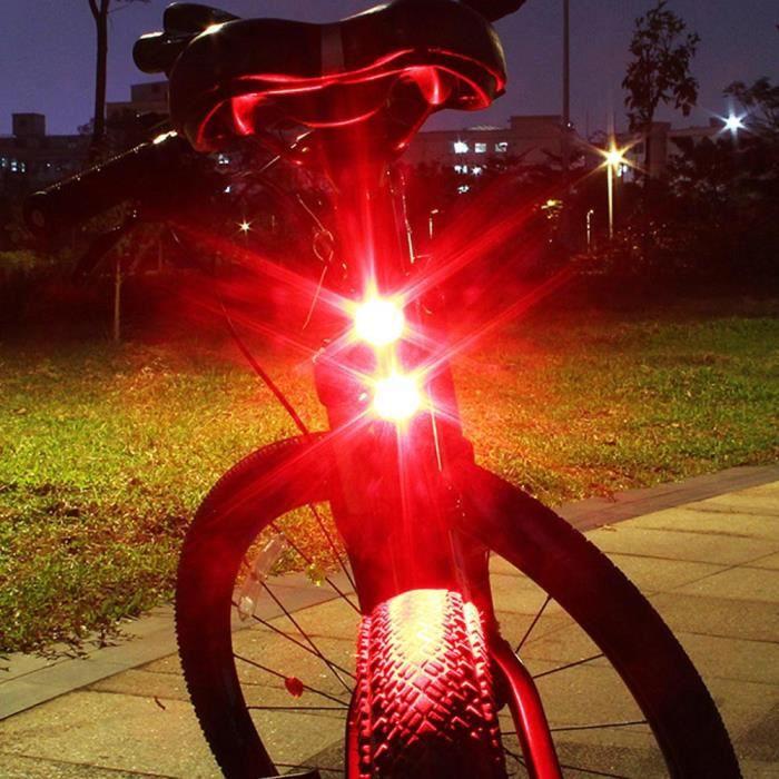ECLAIRAGE POUR CYCLE Cyclisme Vélo Vélo 2 LED Retour arrière Feu arrière Feu de sécurité clignotant d'avertissement rouge