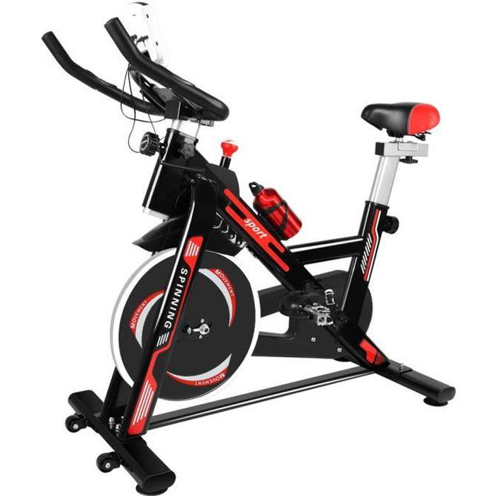 Vélo d'appartement - Niveaux de résistance réglables - d'Intérieur Cardio - Noir et Rouge - Bigzzia