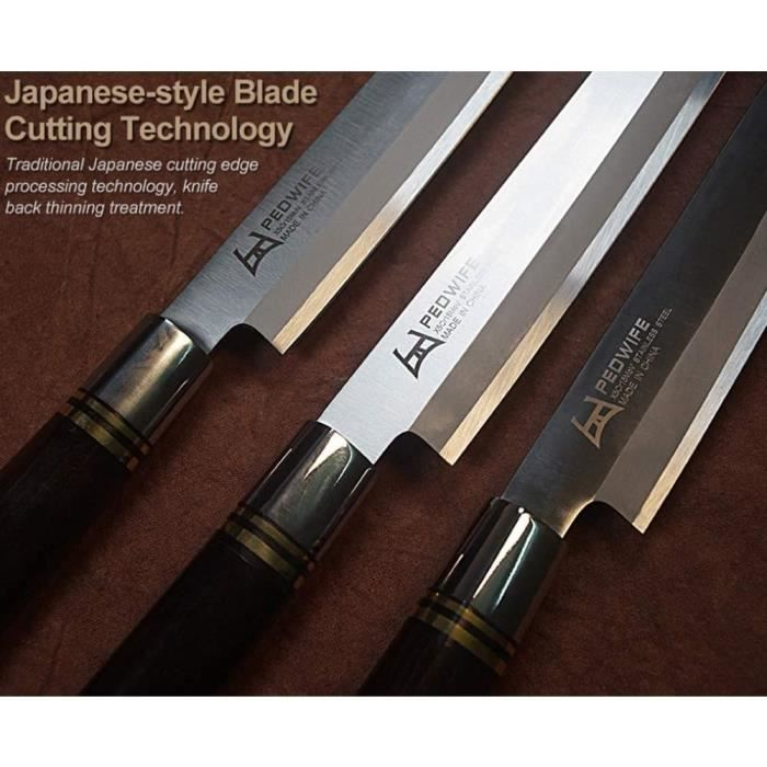 Couteau à sashimi Couteau de cuisine poisson Couteau à filet avec Fourreau japonais professionnel en acier inoxydable Yanagiba[523]