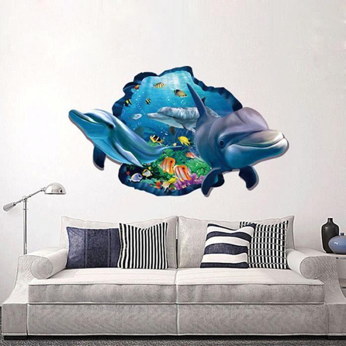 Vivid 3d dauphin sous-marin poisson fenêtre bricolage stickers muraux salle de bain salon chambre décoration de la maison