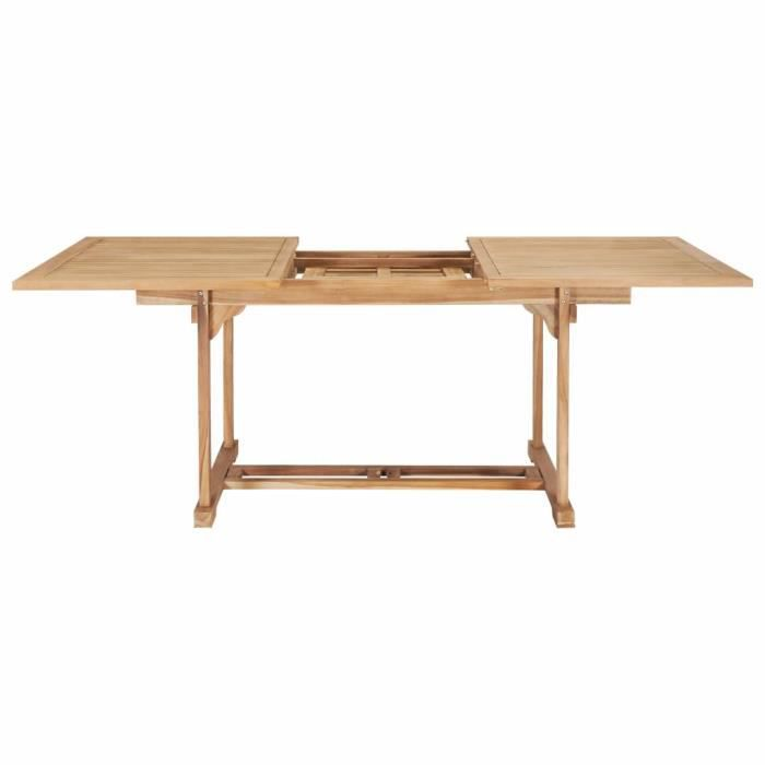 Haute qualité Table de jardin - Table d'appoint Table de reception extensible 150-200x100x75 cm - Teck solide *475228