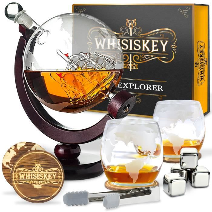 Whisiskey® Carafe Whisky - Globe - 900 ml - 2 Verre à Whisky, 4 Pierre à Whisky et Bec Verseur - Vin Carafe Decanter - Cadeau homme