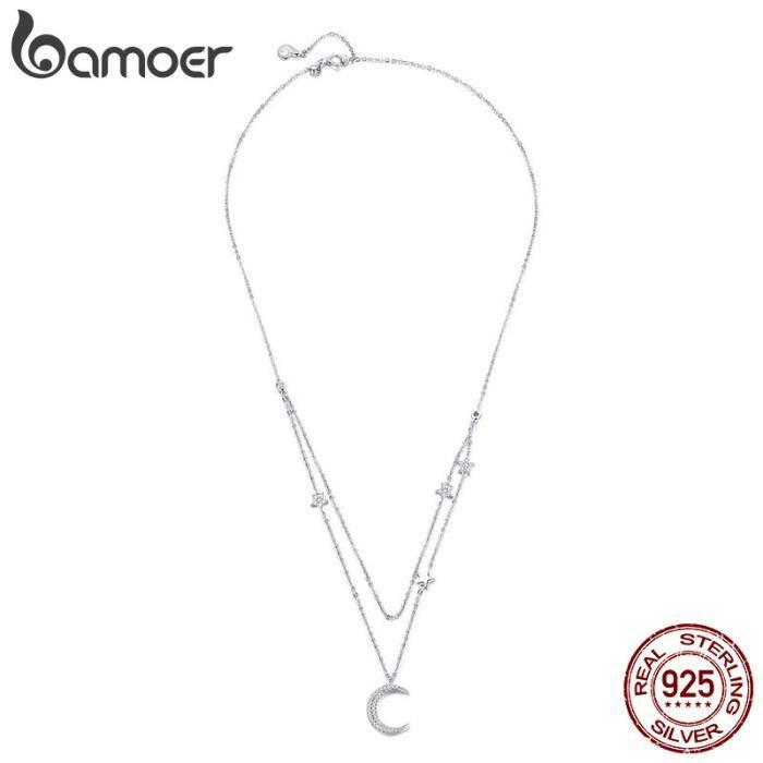 Colliers Femmes La lune entrelacés Cristal Swarovski Element Blanc pour S925 Bijoux Zircon de qualité AAA Cadeau BSN038