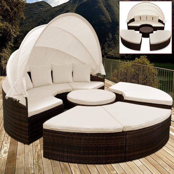 Deuba - Canapé • ensemble ovale en polyrotin brun/noir avec coussins • 230 cm avec pare-soleil - Bain de soleil, lounge