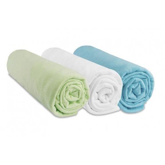 Lot de 3 draps housse coton 70x160 anis blanc turquoise
