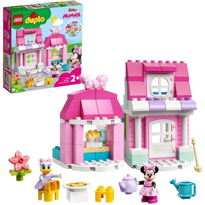 LEGO® 10942 DUPLO® Disney® La maison et le café de Minnie, Maison de poupée avec Daisy, jouet enfant 2 ans et plus
