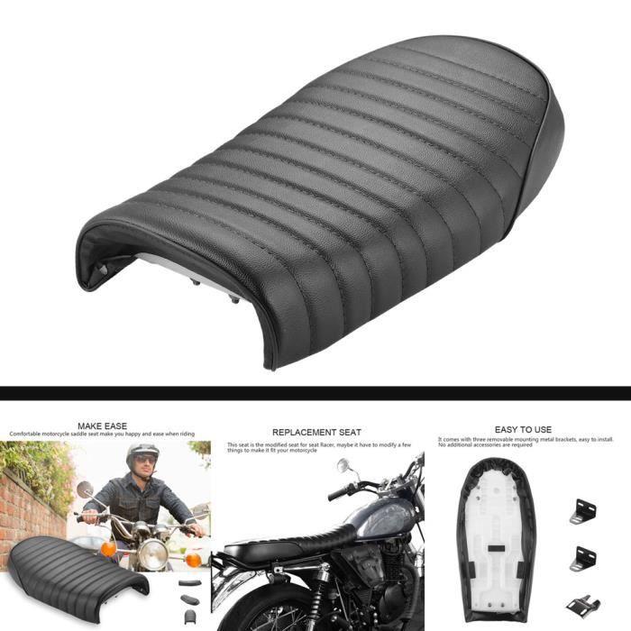 Selle Siège De Moto Universel Support Couverture Style Rétro - Noir
