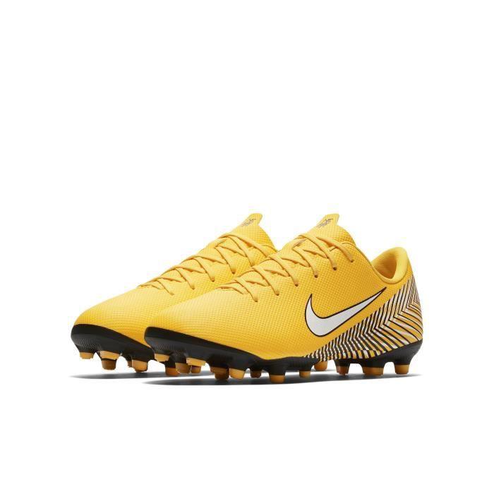 Nike Jr. Mercurial Vapor XII Academy Neymar Jr MG, Multi ground, Enfant, Mâle, Semelle à crampons moulés, Jaune, Uniforme