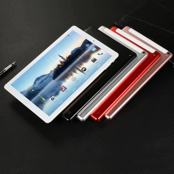 10,1 pouces Android Tablette Pc 3G Core 6Gb + 64Gb Mobile Sim Card Appel téléphonique Lcd Display Computer Tablet Pc, blanc