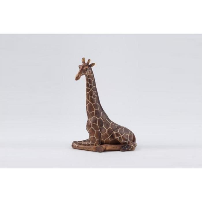 Sculpture animalière en résine Girafe assise H.31cm - Marron