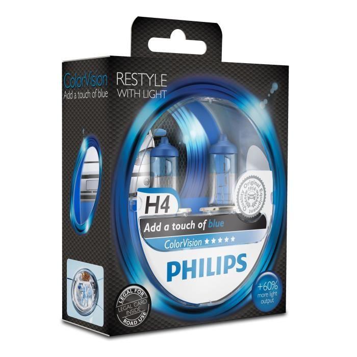 Philips ColorVision Lampe automobile, bleu 12342CVPBS2, H4, 55 W, Feux anti-brouillard, Feux de route, Éclairage intérieur