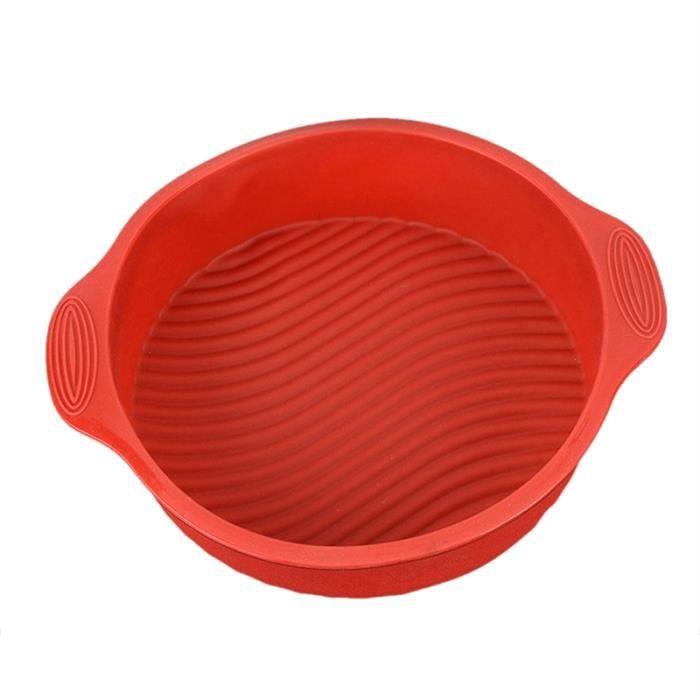 Ustensiles de cuisson en silicone antiadhésive ronde moule à cake à pâtisserie pour pain gâteau Mousse - rouge