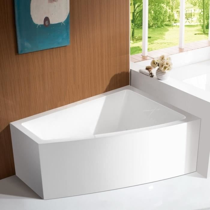 Baignoire d'Angle à Droite Bain Douche Asymétrique - Acrylique Blanc -160x120 cm - Kingston