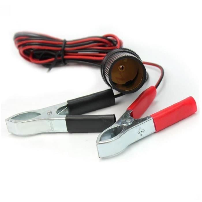 150cm 12V Batterie Clip-sur-lache de la voiture Cigarette de voiture Adaptateur femelle, pinces (pinces)