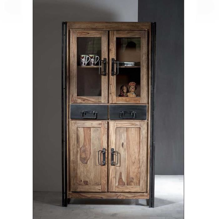 vitrine industriel loft atylia mati re shesham achat. Black Bedroom Furniture Sets. Home Design Ideas