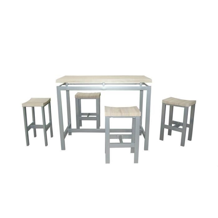 Ensemble design table haute 4 tabourets mani achat for Tabouret et table haute