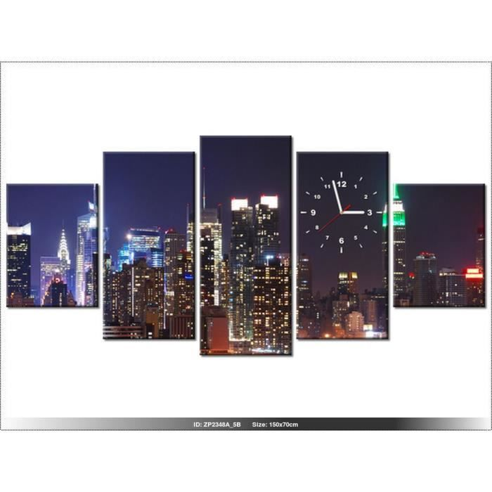 150x70cm new york horloge murale tableau deco moderne for Decoration murale geante new york