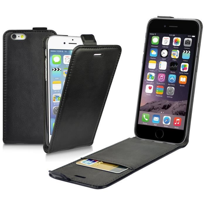 Etui housse en cuir noir flip pour apple iphone 6 4 7 for Housse cuir iphone 6