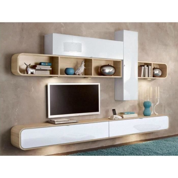 composition murale tv cobra design blanche et ch ne achat vente meuble tv composition murale. Black Bedroom Furniture Sets. Home Design Ideas