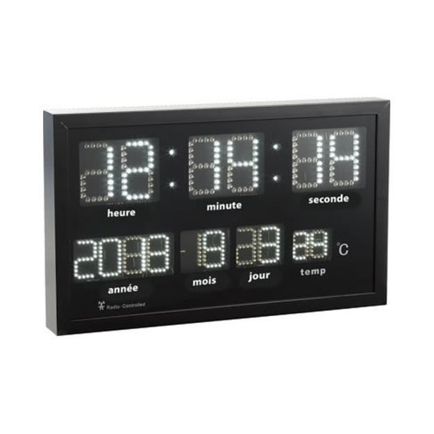 horloge murale radio pilot e led blanches achat vente horloge pendule cdiscount. Black Bedroom Furniture Sets. Home Design Ideas
