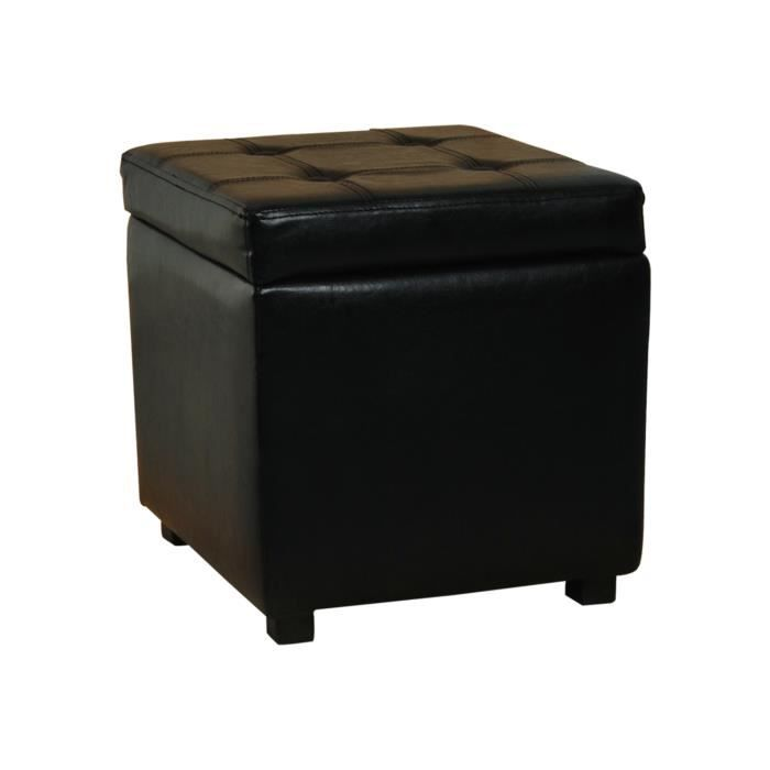 pouf cube cube coffre de rangement noir achat vente. Black Bedroom Furniture Sets. Home Design Ideas