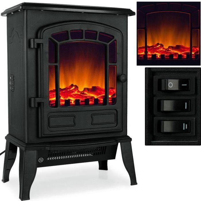 Neuf Noir 1800 W autoportante Cuisinière électrique Cheminée Fire radiateur fonte effet