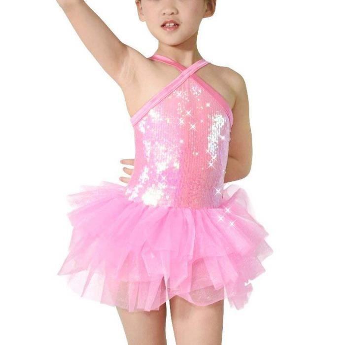 Chaussures de ballet pour fille Chaussures de danse enfant Chaussures confortables en dentelle avec bande rose