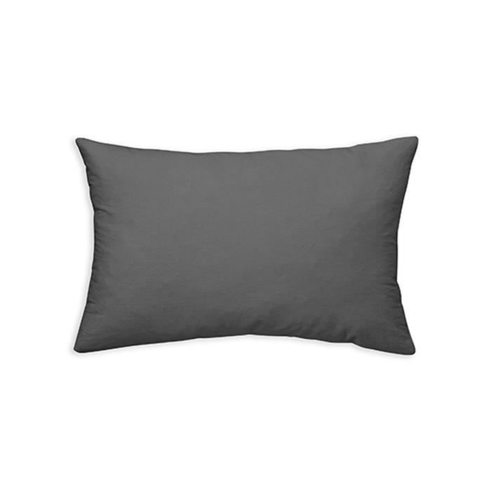 30 x 50 cm PEGANE Lot de 4 Coussins rectangulaires en Coton et Polyester Coloris Gris fonc/é
