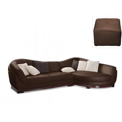 canap d 39 angle cuir de buffle 5 places pouf c achat. Black Bedroom Furniture Sets. Home Design Ideas