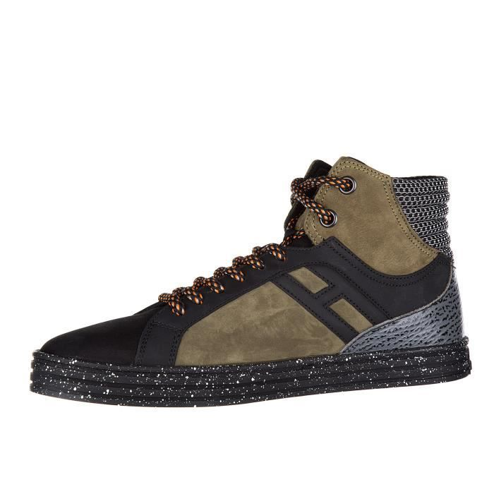 Chaussures baskets sneakers hautes homme en cuir r141 basket Hogan Rebel