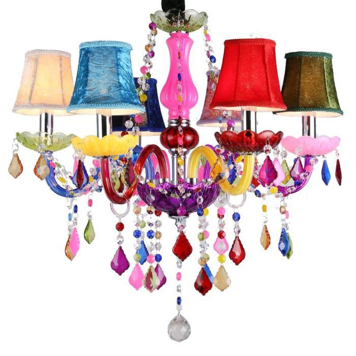 LUSTRE ET SUSPENSION 6 lustre en cristal coloré lustre pampilles plafon