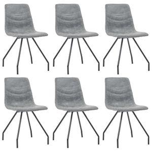 CHAISE Cent Shopping Chaises de salle à manger 6 pcs Gris