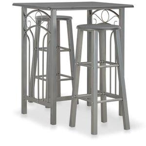TABLE À MANGER COMPLÈTE Ensemble petite table de cuisine en acier gris eff