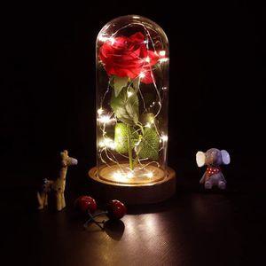 BANDE - RUBAN LED Rose Eternelle avec LED, Cloche et Rose Fleur Arti