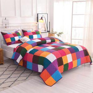 JETÉE DE LIT - BOUTIS AIVEDO 100% Coton Véritable patchwork Couvre-lit b