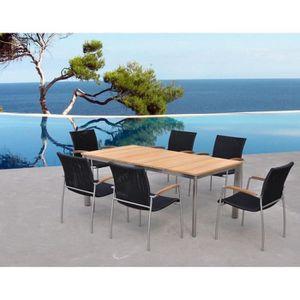 Ensemble table et chaise de jardin Salon de jardin table et 6 fauteuils acier brossé