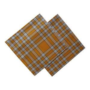 SERVIETTE DE TABLE Lot de 2 serviettes carreaux jaunes 50x50cm