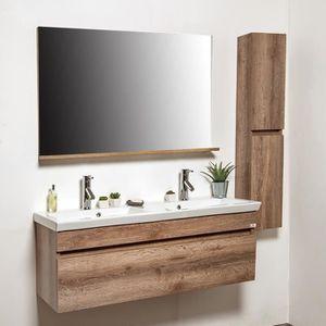 Ensemble meuble de salle de bains rustique 4 pièces 120 cm ...