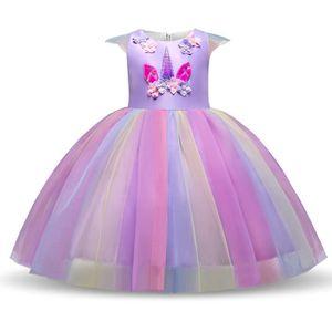 Robe Licorne Fille Unicorn Party,Multicolore Costume Princesse Fille 110 pour les 3-4 ans URAQT Robe Licorne Enfant de Princesse Bleu Robe de Princesse avec Licorne