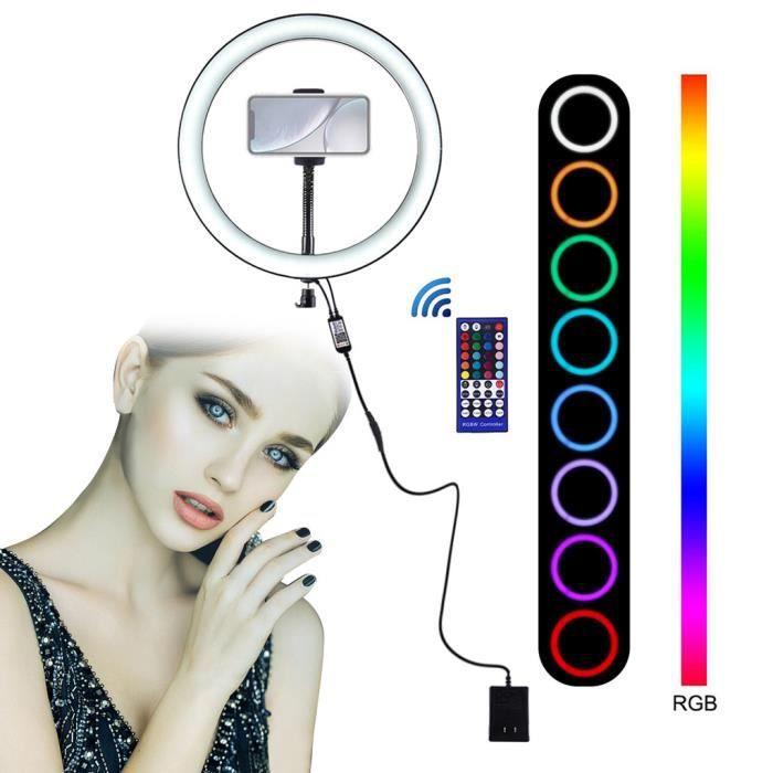 Ring Light / 9 pouces avec tête de berceau de téléphone 8 modes de lumière Vidéo RVB LED_