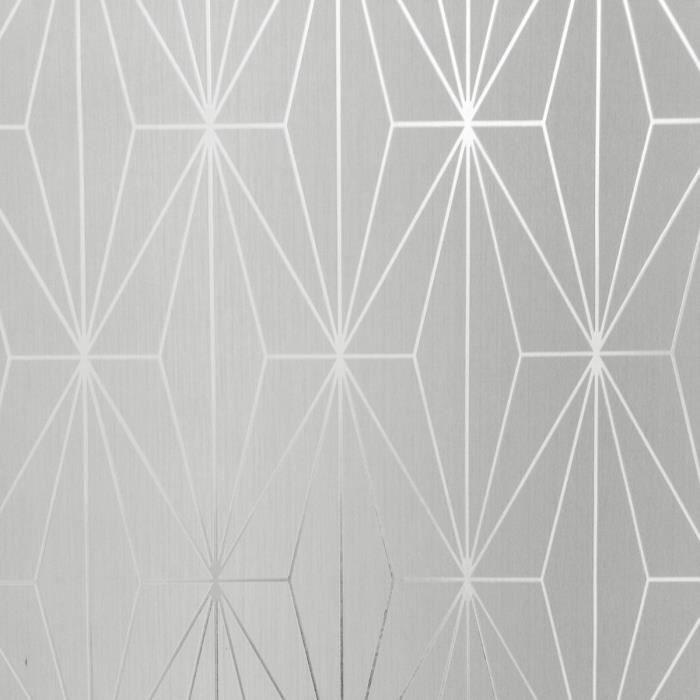 Papier peint géométrique métallique Kayla gris tourterelle - argent Muriva 703010