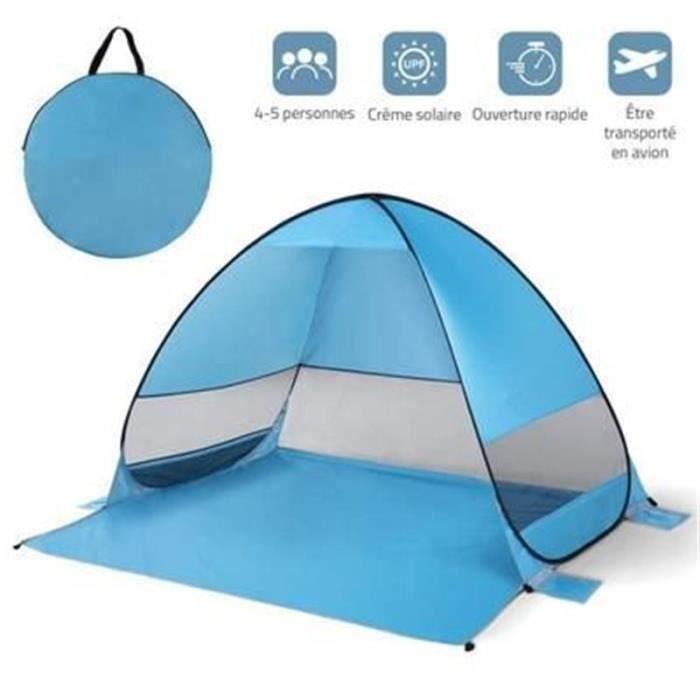 Tente de Plage Pop-up Anti UV 4 ou 5 Personnes Abri Soleil Automatique Montage Instantané Famille Extérieur Portatif pour Plage