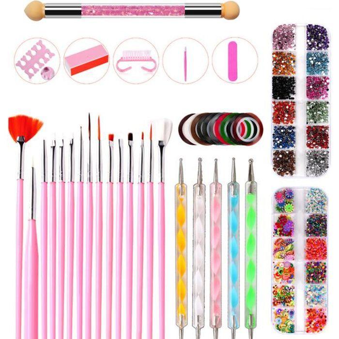 Nail Art Design Set,Kit de Nail Art Manucure Autocollants à Ongles-Diamant Décoration Ongle d'Art Pinceaux Nail art Brosse(10Pcs/set