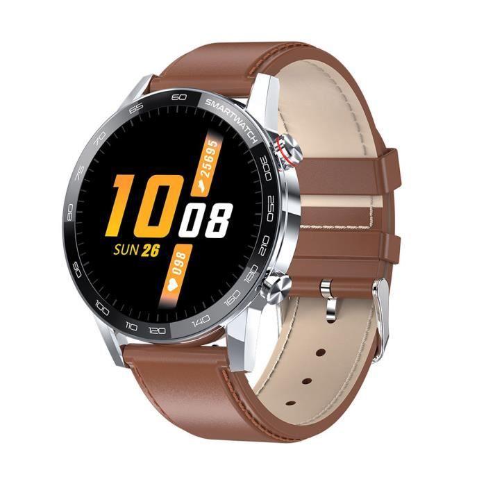 Montre intelligente Brown Microwear L16 IP68 étanche ECG PGG HD moniteur de sommeil de fréquence cardiaque 1.3 pouces IPS alarme Sma