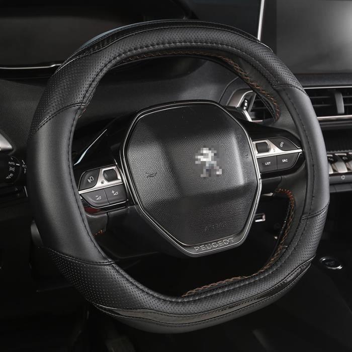Couvre volant,Pour Peugeot 3008 4008 5008 Rifter Partner couverture de volant de voiture en fibre de carbone + PU cuir- Type Black#B