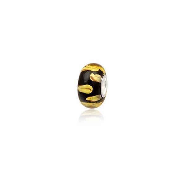 Perle Verre de Murano Noir et Jaune