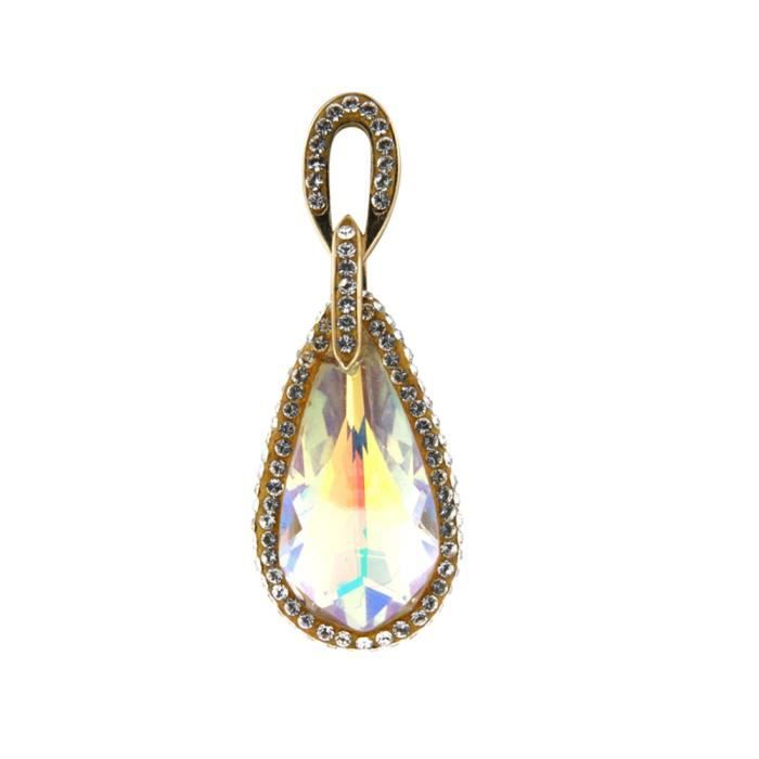 Pendentif Femme en Cristal Swarovski Elements Blanc reflets aurore boréale et Argent 925-1000 plaqué or jaune - Blue Pearls